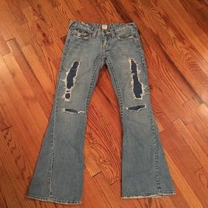 True religion distressed flare jeans